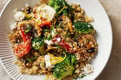 Mushrooms add robust flavour to this vegetarian meal and are rich in B vitamins, potassium and selenium. Quinoa & vegie pilaf with marinated feta Kale Recipes, Raw Food Recipes, Vegetarian Recipes, Cooking Recipes, Healthy Recipes, Vegetarian Dinners, Recipies, Quinoa Dishes, Vegan Dishes