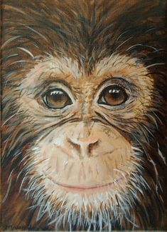 chimpanzee art / monkey painting, jungle animal art, ape, original painting on canvas, home decor, birthday gift, orangutan art, gorilla art by marjansart on Etsy