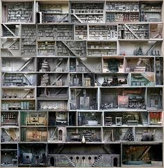 """Marc Giai-Miniet's amazing """"boxes"""" explore the idea ofinner worlds of memory and imagination throughmixed mediarepresentation.Marc uses assemblage, scale model building and trompe l'oeil techniques to create complexlabyrinths made up of storage rooms, stairways, laboratories and interrogation cells."""