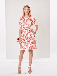 3184a148b3b Belted Floral Toile Textured Cotton Dress - Dresses - Ready-to-Wear