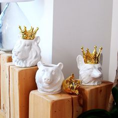 Crowned King of the Wild Gilded Canisters by GlassForestVintage