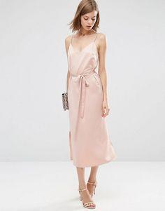 ASOS | ASOS Midi Slip Dress in Satin With Tie Waist