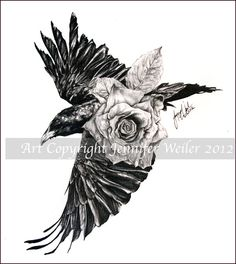 Raven with rose