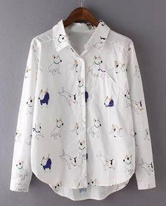 Cute Shirt Collar Long Sleeve Asymmetrical Dogs Print Shirt For Women