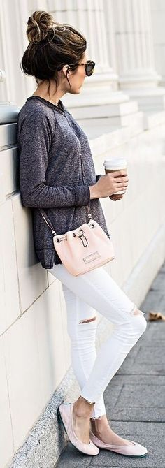 Grey Loose Tee, White Ripped Skinny Jeans, Pink Ballerinas | Hello Fashion                                                                             Source
