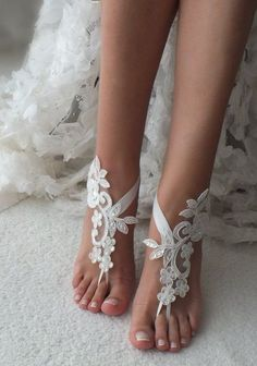 d324121b7ee2 white or ivory lace barefoot sandals wedding barefoot Flexible wrist lace  sandals Beach wedding barefoot sandals Wedding sandals Bridal Gift
