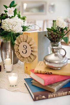 Literature inspired wedding reception table decorations