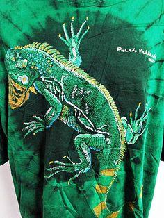 Vintage 1990s Classic IGUANA Tie Dye Deadhead Hippy Festival T-Shirt Tee XXXL