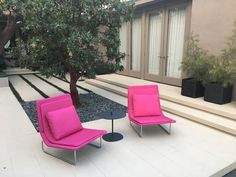 Pink chairs in the garden