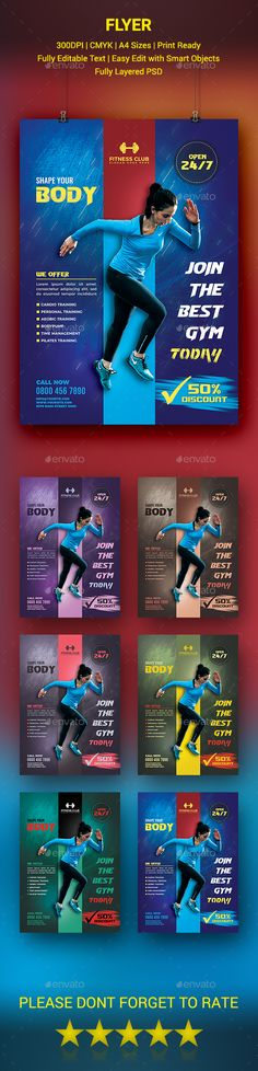 Fitness Gym and Sports Flyer Gym, Flyer template and Event flyers - fitness flyer