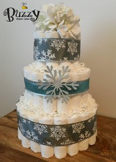 Winter Wonderland Diaper Cake Winter Baby By BuzzyDiaperCakes