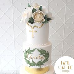 First Communion Cakes, First Holy Communion, Baby Boy Christening, Christening Cakes, Baptism Party, Baptism Ideas, Confirmation Cakes, Cake Decorating Tips, Baby Shower
