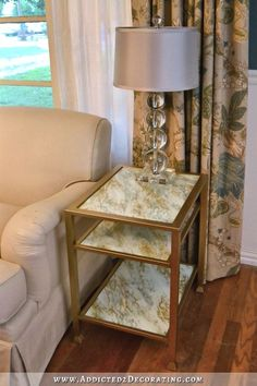 DIY Marbleized Back-Painted Glass End Table