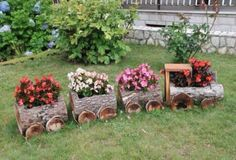 Wooden Log Train Planter