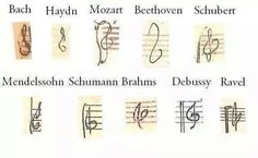 Whose treble clef is your most like? Hmmm<<<<What on earth happened to Hayd's? And Mozart added doodles to his. Beethoven went minimalistic. Sound Of Music, Music Is Life, My Music, Reggae Music, Music Jokes, Treble Clef, Music Theory, Music Education, Led Zeppelin