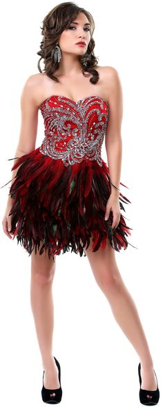Red Feathered and Rhinestoned Divine Short Homecoming Dress - Unique Vintage - Pinup, Holiday & Prom Dresses.
