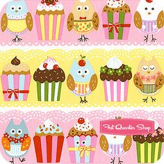 Cherry on Top Strawberry and Banana Owls and Cupcakes Yardage SKU# 32701-11