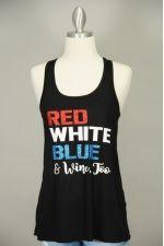 Red, White, Blue & Wine Too Glitter Tank   Thumbnail