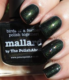 piCture pOlish Collab-Fest Mallard by The PolishAholic Dark Green Nails, Dark Nails, Matte Nails, Great Nails, Fun Nails, Picture Polish, Daily Nail, Super Nails, Trendy Nails