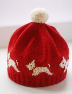 Scottie Dog Hat :-) Ravelry: Westie Hat pattern by Eline Oftedal by bertha Knitting For Kids, Knitting Projects, Baby Knitting, Crochet Projects, Knitting Patterns, Crochet Patterns, Hat Patterns, Knitting Needles, Knit Or Crochet