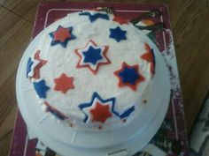 4th of july red white and blue stars cake