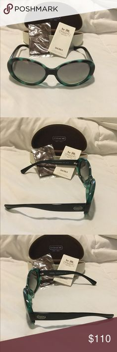 🌺🌺. COACH SHADES 🌺🌺.   🌻 BRAND NEW🌻 🌹 AUTHENTIC  🌹NEVER USED 🌹 COACH SHADES...COLOR LABLED AS (AQUA TORTOISE/BLACK) VERY CUTE VERY SEXY LOOK.  COMES WITH CLEANING RAGE IN ORIGINAL PACKAGE HOW TO CARE FOR BOOKLET AND AUTHENTIC COACH CASE.  GREAT FOR THOSE SUNNY DAYS OR SNOWY DAYS Coach Accessories Sunglasses