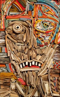 Paper faces made of books
