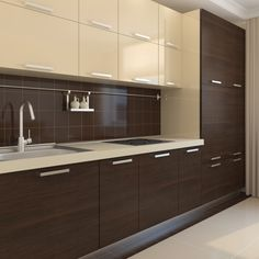 beige and dark wood texture kitchen cabinets