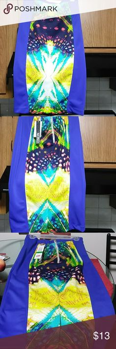 Knee length Skirt Beautiful multi coloured knee length fitted skirt.  Brand New with tags. 94%polyester with 4% spandex XOXO Skirts Pencil