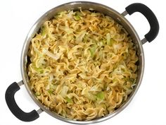 Add Cooked Noodles to Cabbage and Onion