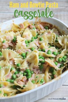 This ham and bowtie pasta casserole recipe makes a quick and satisfying dinner for the family in no time. easy dinner recipes for family Ham And Noodle Casserole, Pasta Casserole, Easy Casserole Recipes, Leftover Ham Casserole, Casserole Dishes, Chicken Casserole, Ham Dishes, Pasta Dishes, Food Dishes