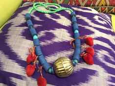 one of a kind tribal inspired Necklace unique deep blue African vintage vulcanite vinyl disc with huge old silver Kuchi pendent Tribal inspired necklace, Tassel charm, old brass pendant, Gypsy, Boho, Bohemian Hippie festival jewelry, Special necklace, Old African trade beads necklace