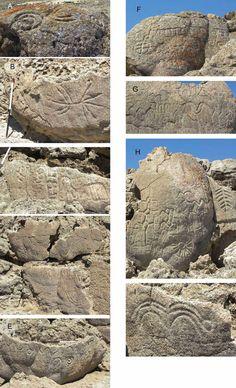 Close-ups of the Winnemucca Lake petroglyphs
