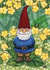 Garden Gnome Funny Spring House Flag
