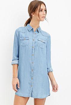 Chambray Shirt Dress | Forever 21 - 2000141319