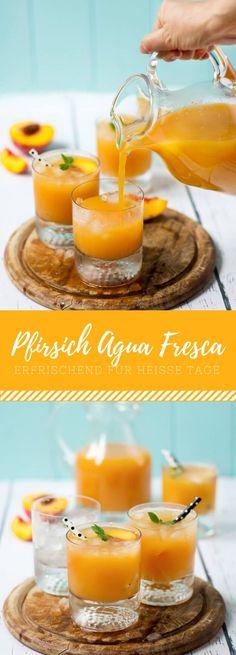 Pfirsich Agua Fresca. Das mexikanische Getränk für heiße Tage kannst du ganz schnell selber zu Hause nachmachen!