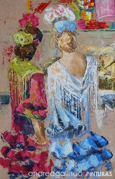 Quiosco de chuches; Procedimiento: Mixto (acrílico y pastel); Medidas: 67x43 cm. Woman Painting, Figure Painting, Ballerina Painting, Spanish Art, Flamenco Dancers, Mexican Folk Art, Famous Artists, Painting Inspiration, Female Art
