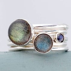 storm silver and labradorite handmade stacking rings by alison moore designs | notonthehighstreet.com