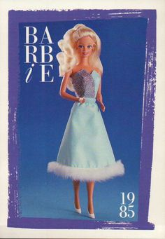 "Barbie Collectible Fashion Trading Card  "" Spectacular Fashions ""  Dress 1985"