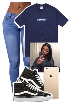 """Untitled #23"" by trapsoul ❤ liked on Polyvore featuring Supreme and Vans"