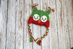 Christmas Owl! Adorable! Hand Crocheted Christmas Sleeping Baby Owl ear flap beanie hat by TwinFlameBoutique