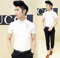 2014 Newest Chinese Style Fashion Embroidery Cool Man Short Sleeve Shirt Prom Office Party Aliexpress Retail $22.88