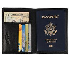 dd4dc1a75 Organizador de documentos de viaje hombre y mujer con protección RFID, cartera  piel en cuero sintético negro y 4 huecos para tarjeta de crédito y billete.