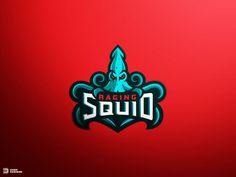 Raging Squid Mascot Logo by Derrick Stratton