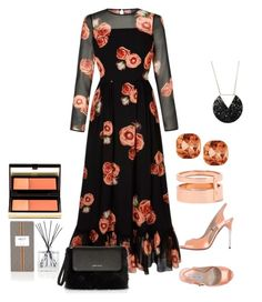 """""""Apricot and Black"""" by freida-adams ❤ liked on Polyvore featuring Nest Fragrances, Kevyn Aucoin, Luciano Padovan, Karen Millen, Emily & Ashley and Repossi"""