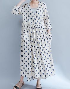 Women loose fit over plus size spots pattern linen dress long maxi pocket tunic #Unbranded #dress #Casual