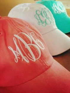Monogrammed Baseball Cap by SewWunderfulDesigns on Etsy, $18.00. love these colors! These would be adorable as a bridesmaid gift!