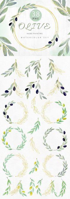 Watercolor Clipart, Watercolor Tattoo Tree, Gold Watercolor, Watercolor Trees, Art Clipart, Watercolor Wedding, Olive Tree Tattoos, Olive Branch Tattoo, Tree Tattoo Back