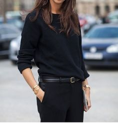 Emanuelle Alt French in all black