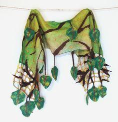 Nuno felted scraf - Green leaves  by GalaFilc, via Flickr